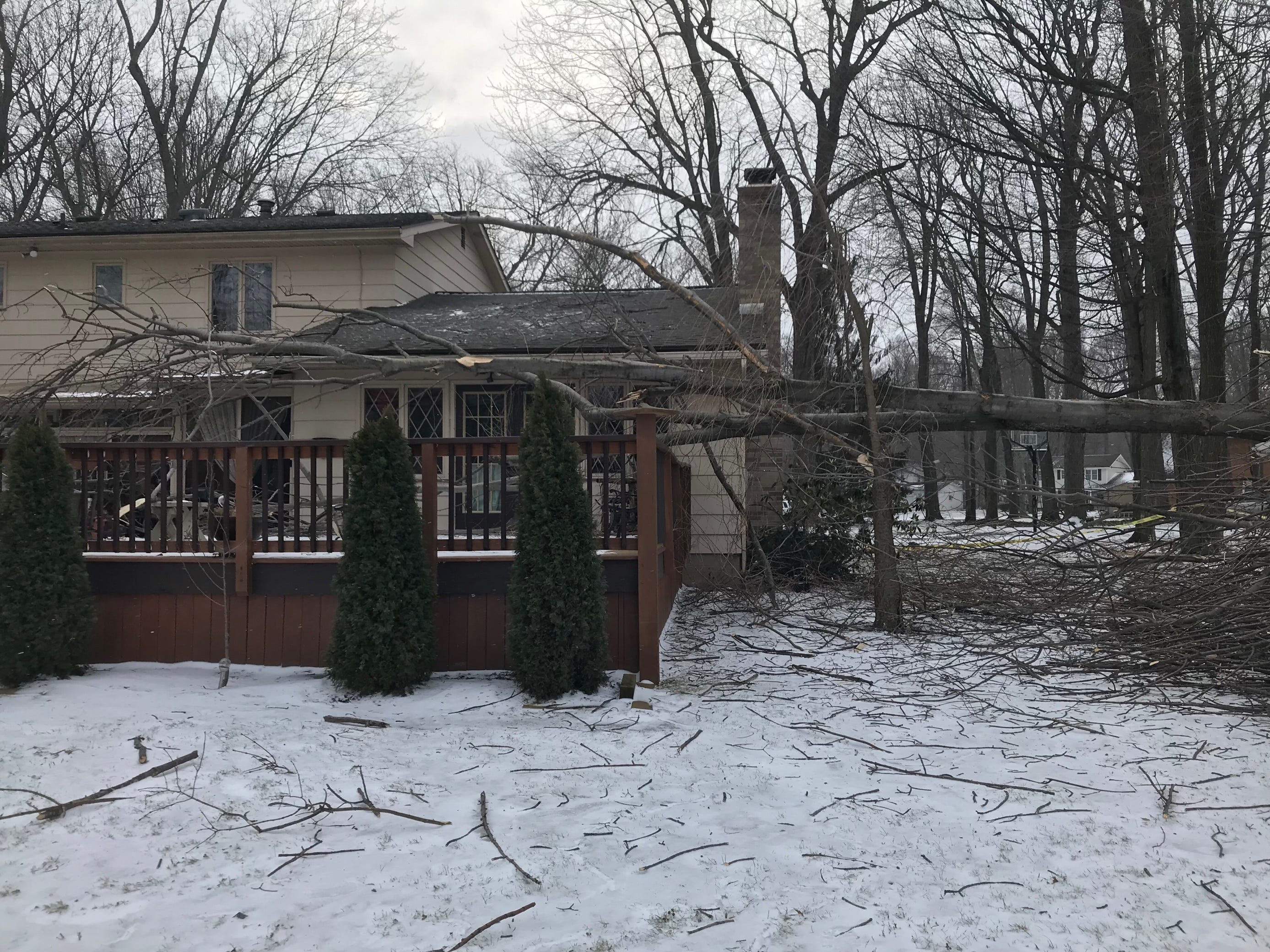 A tree falls on a deck at a home in Webster.