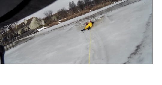 A man and a dog were rescued near the Canandaigua city boat launch on Feb. 24, 2019.