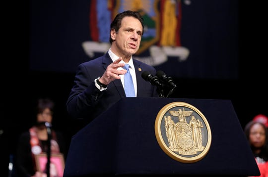 "New York Governor Andrew Cuomo speaks during a bill signing ceremony in New York, Monday, Feb. 25, 2019. Cuomo was joined by House Speaker Nancy Pelosi as he signed a ""red flag"" bill, which attempts to prevent people who present a threat to themselves or others from purchasing or owning a gun. (AP Photo/Seth Wenig)"