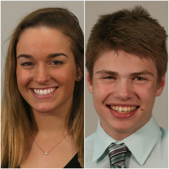 Anna Schriefer, left, of Pittsford Mendon and Teddy Warfle, right, of Honeoye Falls-Lima. Both Schriefer and Warfle won state titles in Nordic skiing on Monday.