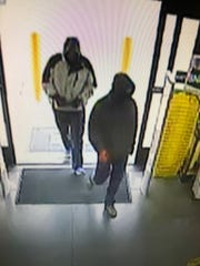 A surveillance camera captures the two men who Redding police say attempted to rob a Dollar General on Sunday afternoon.