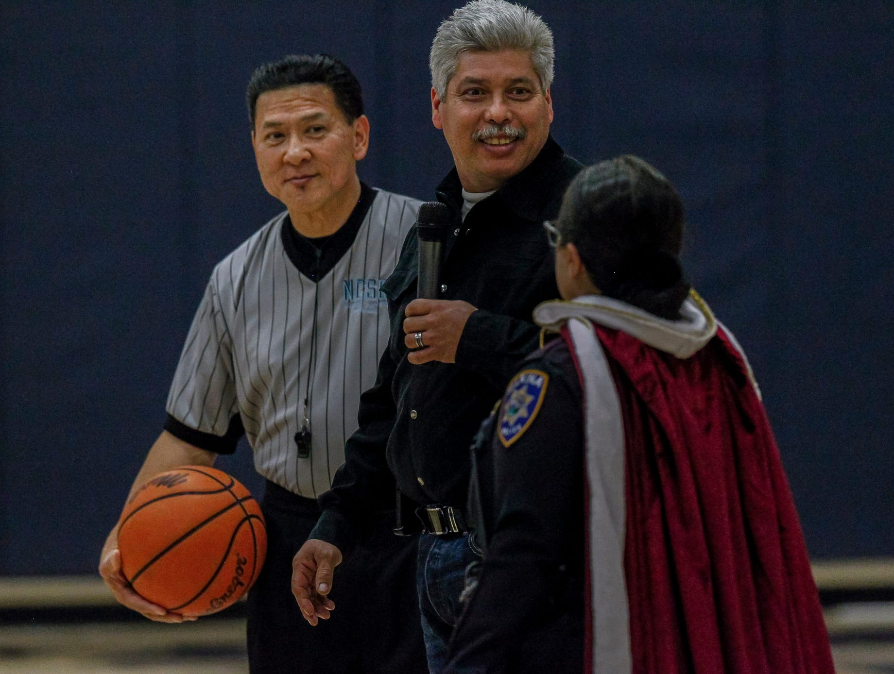 The inaugural Battle of the Badges basketball game between Marina and Salinas Police Departments at CSU Monterey Bay's Sports Complex on Saturday, February 13, 2019 in Seaside, Calif.