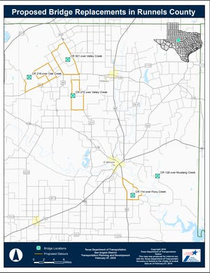 Bridge replacement map in Runnels County.