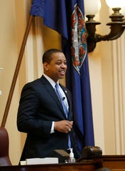 """Virginia Lt. Gov. Justin Fairfax presides over the end of the 2019 Senate session at the Capitol in Richmond on Sunday, Feb. 24, 2019. Fairfax delivered an impassioned speech and said """"If we go backwards and we rush to judgment and we allow for political lynchings without any due process, any facts, any evidence being heard, then I think we do a disservice to this very body in which we all serve."""""""