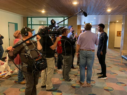 Former LSU cornerback Greedy Williams holds court with Shreveport media following a visit to an area children's hospital.