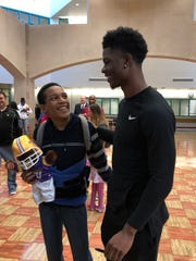 Former LSU cornerback Greedy Williams took a break from training for the NFL Combine and met with patients of Shreveport children's hospital.