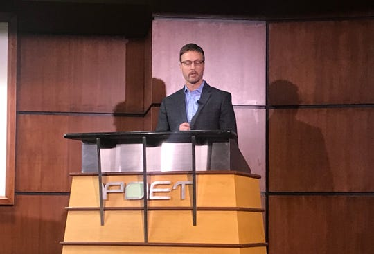 Poet CEO Jeff Broin speaks at Poet headquarters in Sioux Falls Monday, Feb. 25, 2019, prior to a contract-signing ceremony with the city of Sioux Falls.