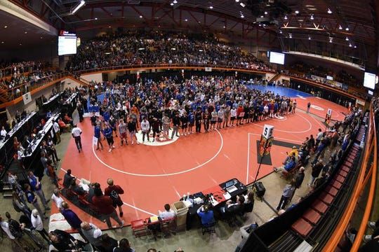 The parade of athletes at the 2019 state wrestling meet in Rapid City.