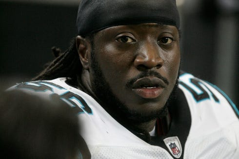 Carolina Panthers linebacker Abdul Hodge is pictured in the second half of their NFL football game against the Atlanta Falcons on Sunday, Jan. 2, 2011.