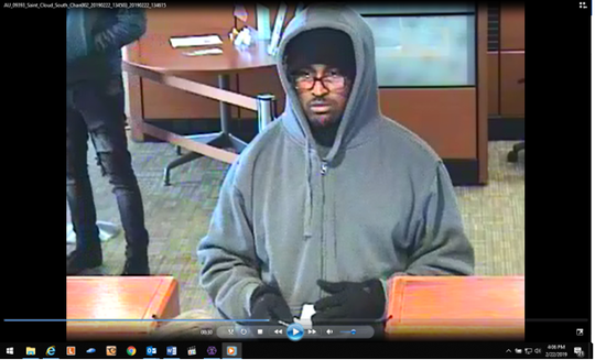 Suspect in the Feb. 22 bank robbery at Wells Fargo Bank.