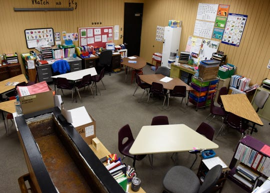 The former teachers lounge, seen here Monday, Feb. 25, has been repurposed as a classroom at Pleasantview Elementary School in Sauk Rapids.
