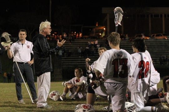 Allan Rice came out of coaching retirement to return as Leon's head lacrosse coach. The Lions' lacrosse team played Ocala Forest in its season opener on Feb. 18, 2019.
