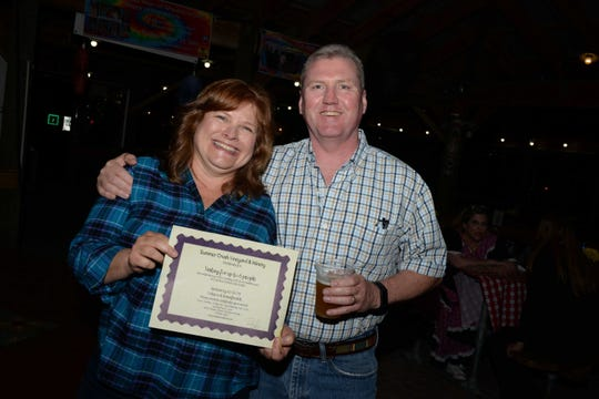Beth and Steve Durkin win a wine tasting for up to six guests at the Summer Crush Winery at Hoedown for HANDS of St. Lucie County at  Summer Crush Winery.
