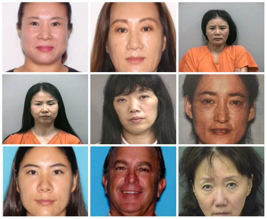 Mug compilation of individuals arrested in connection with human trafficking and prostitution in Florida.