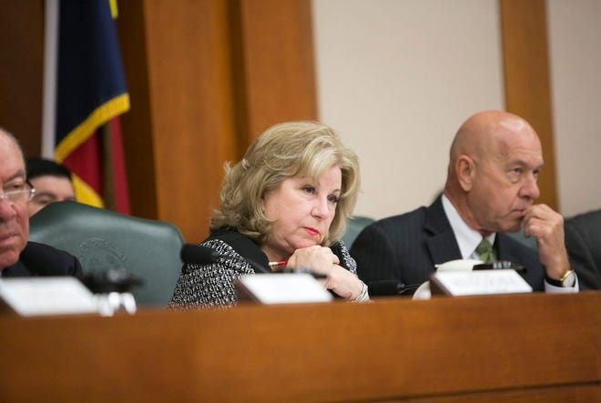 State Sen. Jane Nelson, R-Flower Mound, asked questions during a Senate Finance Committee hearing at the state Capitol in this Texas Tribune file photo.