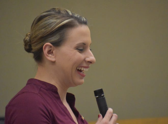 Congresswoman Katie Hill spoke to constituents in Simi Valley on Sunday. A Democrat, she's vice chairwoman of the committee that on Wednesday will ask questions of Michael Cohen, President Donald Trump's former lawyer.