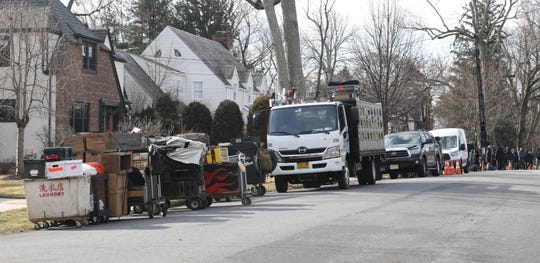 "A production crew with the television series ""Mr. Robot"" is set up along Grandview Boulevard in Yonkers, as they film a scene in front of houses decorated for the Christmas holiday, Feb. 25, 2019."