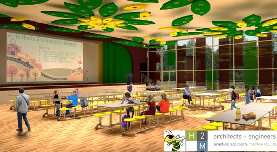 An artist rendering of the proposed Hillside multi-purpose room and cafeteria.