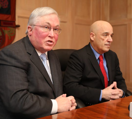 Tim Hall, the President of Mercy College, left, and William Latimer, the President of the College of New Rochelle, are pictured at the Castle on the CNR campus, Feb. 25, 2019. They were there to talk about how Mercy College is ready to take on College of New Rochelle students if the 115-year-old institution closes as expected this summer.