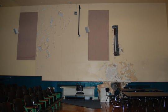 Deteriorating conditions in the middle school auditorium.
