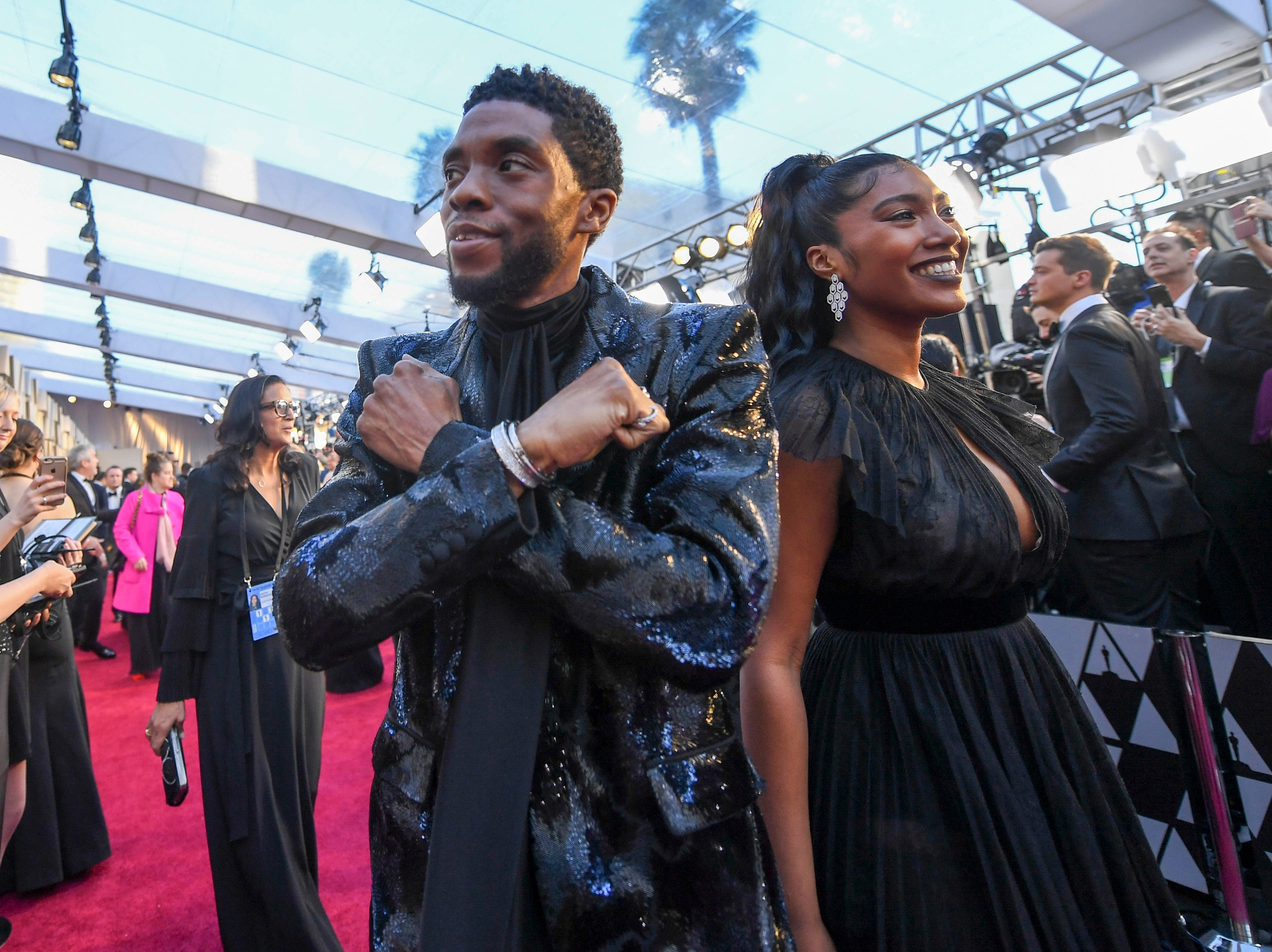 February 24, 2019; Los Angeles, CA, USA; Chadwick Boseman arrives at the 91st Academy Awards at the Dolby Theatre. Mandatory Credit: Robert Hanashiro-USA TODAY NETWORK (Via OlyDrop)