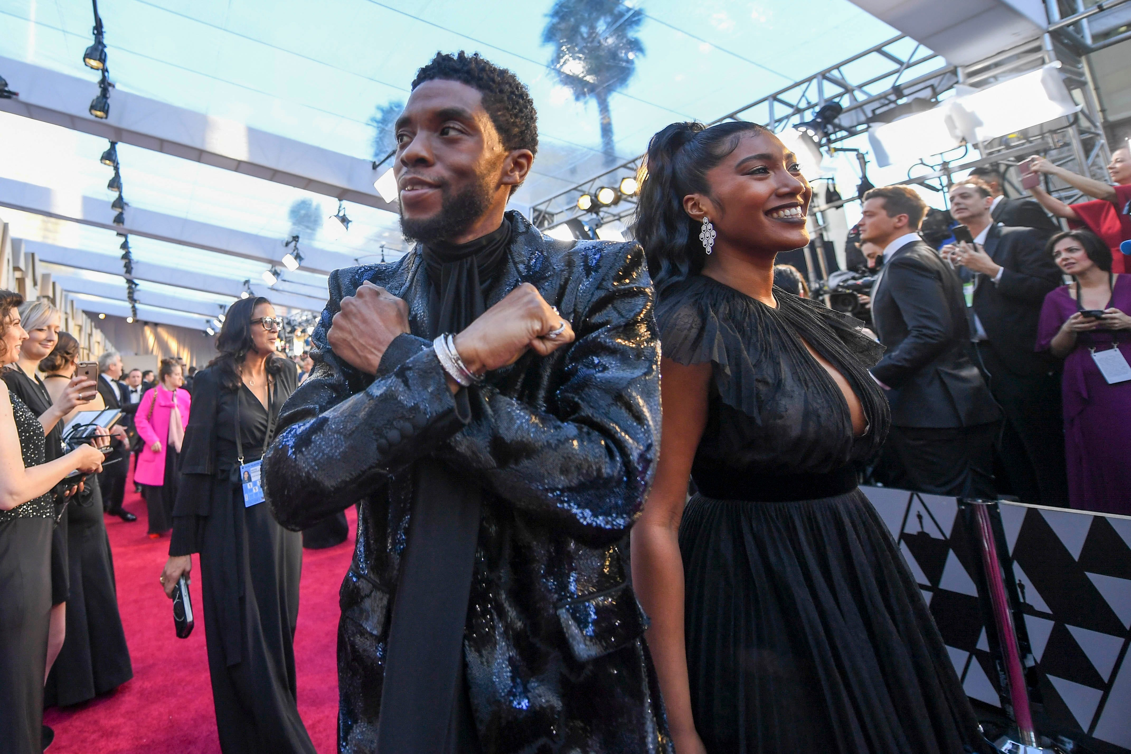 February 24, 2019; Los Angeles, CA, USA; Chadwick Boseman arrives at the 91st Academy Awards at the Dolby Theatre. Mandatory Credit: Robert Hanashiro-USA TODAY NETWORK (Via OlyDrop)