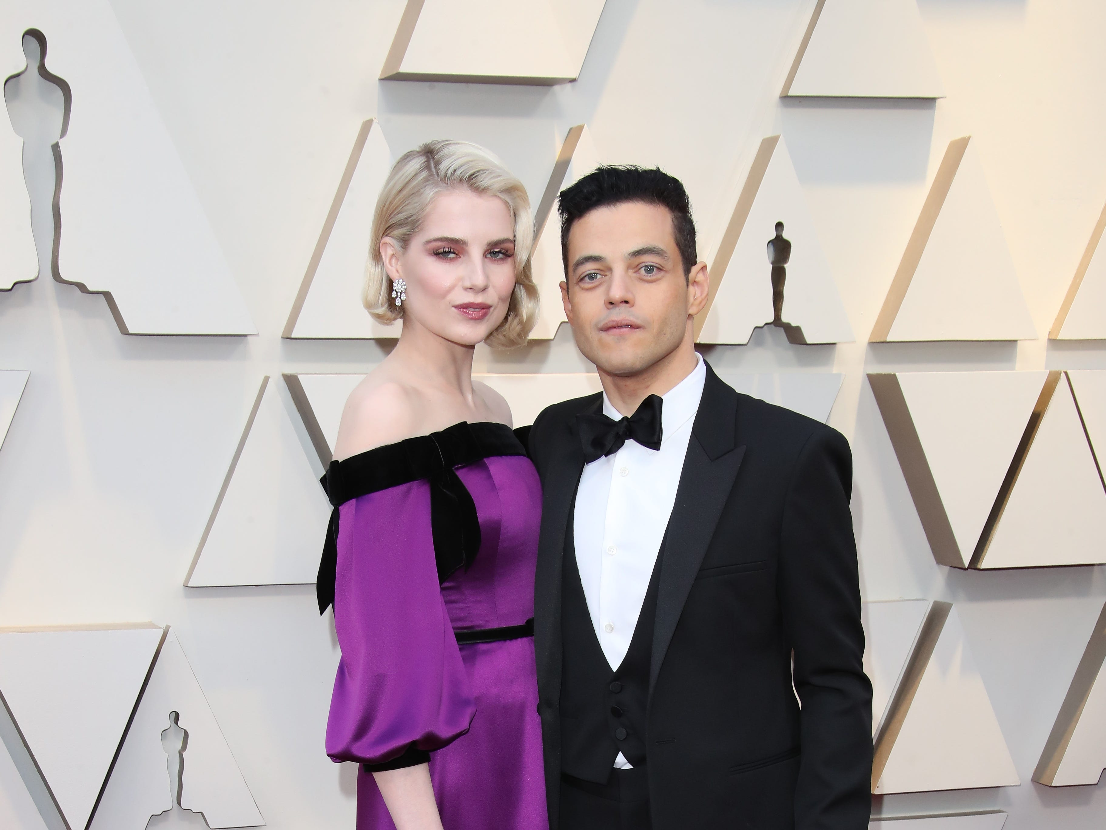 February 24, 2019; Los Angeles, CA, USA; Lucy Boynton, left, and Rami Malek arrive at the 91st Academy Awards at the Dolby Theatre. Mandatory Credit: Dan MacMedan-USA TODAY NETWORK (Via OlyDrop)