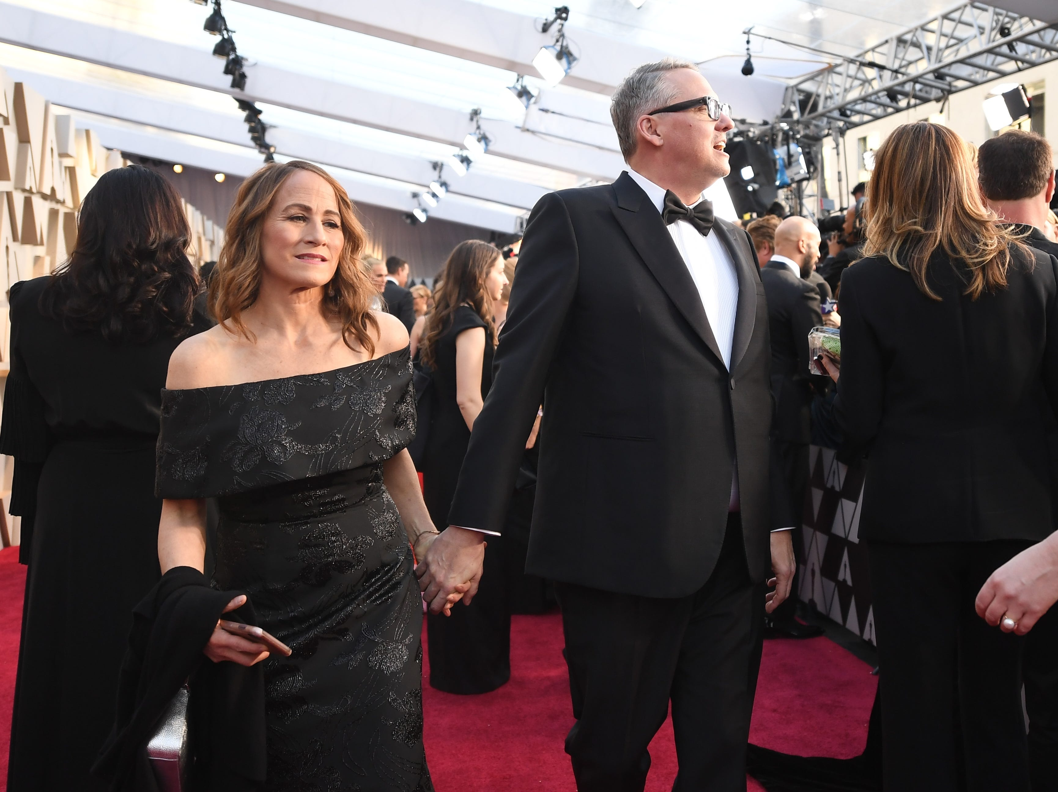 "February 24, 2019; Los Angeles, CA, USA; Best Director nominee and Best Original Screenplay nominee for ""Vice"" Adam McKay and wife Shira Piven arrives at the 91st Academy Awards at the Dolby Theatre. Mandatory Credit: Robert Hanashiro-USA TODAY NETWORK (Via OlyDrop)"