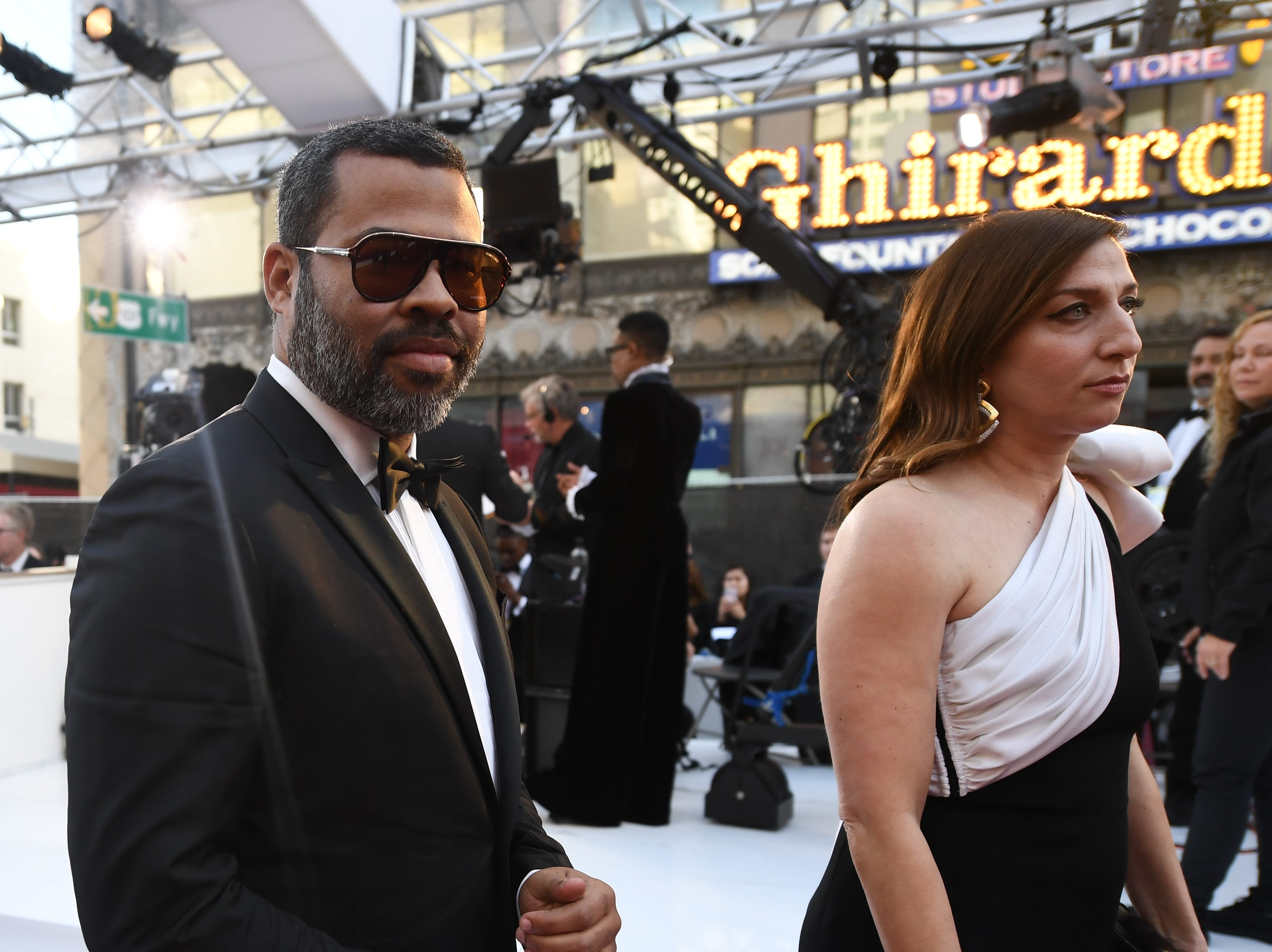 February 24, 2019; Los Angeles, CA, USA; Jordan Peele and his wife Chelsea Peretti arrive at the 91st Academy Awards at the Dolby Theatre. Mandatory Credit: Robert Hanashiro-USA TODAY NETWORK (Via OlyDrop)