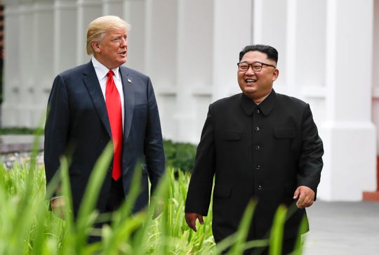 President Donald Trump and North Korea leader Kim Jong Un on June 12, 2018, in Singapore.