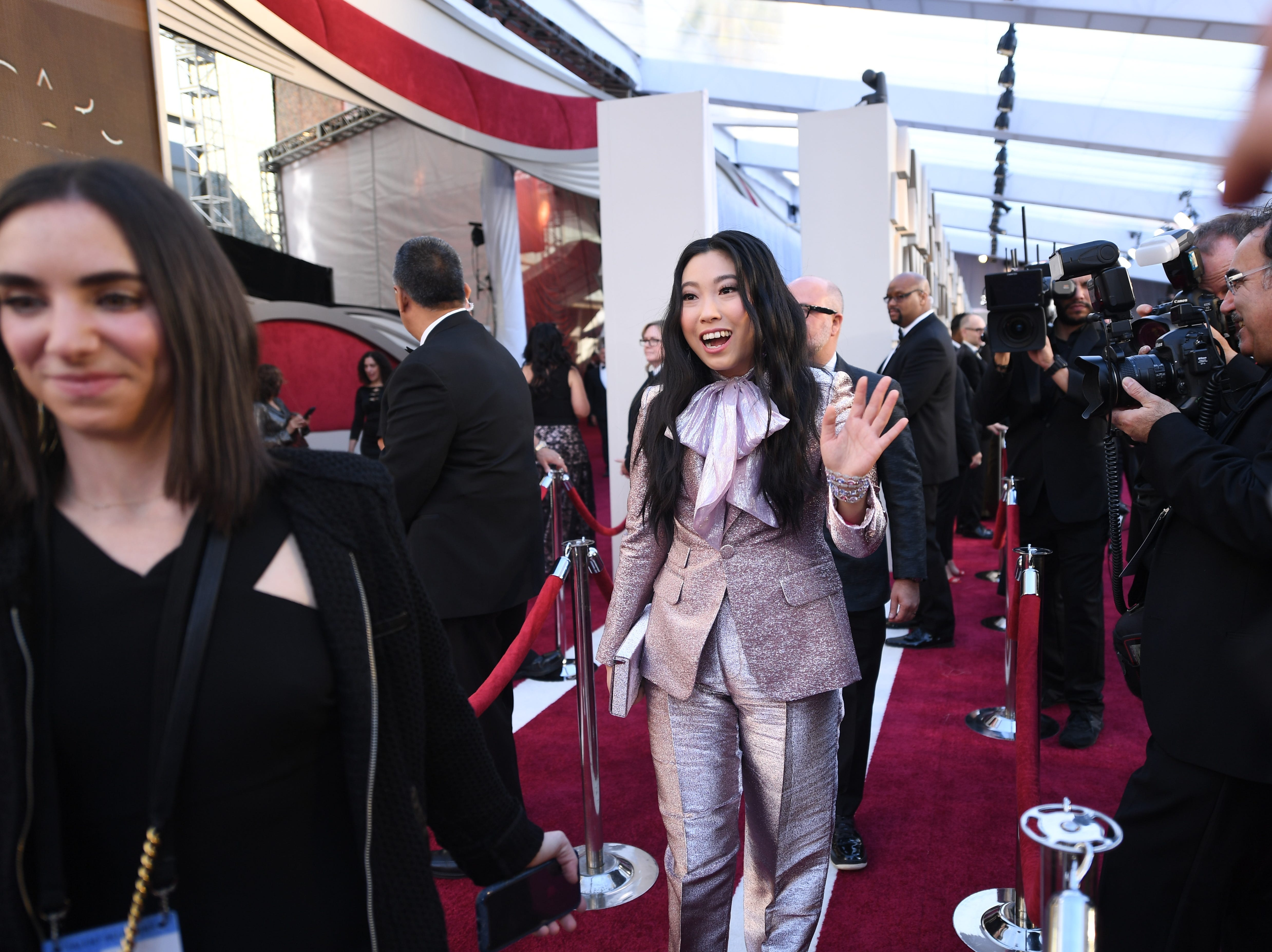 February 24, 2019; Los Angeles, CA, USA; Awkwafina arrives at the 91st Academy Awards at the Dolby Theatre. Mandatory Credit: Robert Hanashiro-USA TODAY NETWORK (Via OlyDrop)