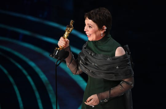 """In an upset over widely predicted winner Glenn Close, Olivia Colman accepts the award for best performance by an actress in a leading role for  """"The Favourite"""" during the 91st Academy Awards at the Dolby Theatre."""