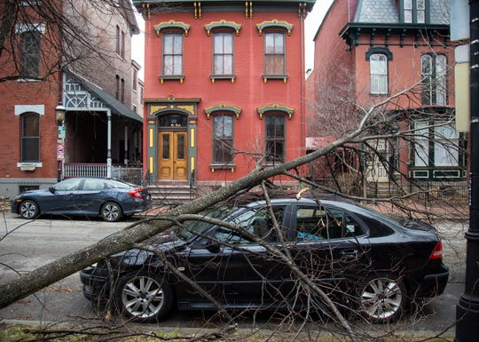 A tree downed by strong winds lays across the front of a vehicle parked on Beech Ave. Sunday, Feb. 24, 2019, on the North Side of Pittsburgh.