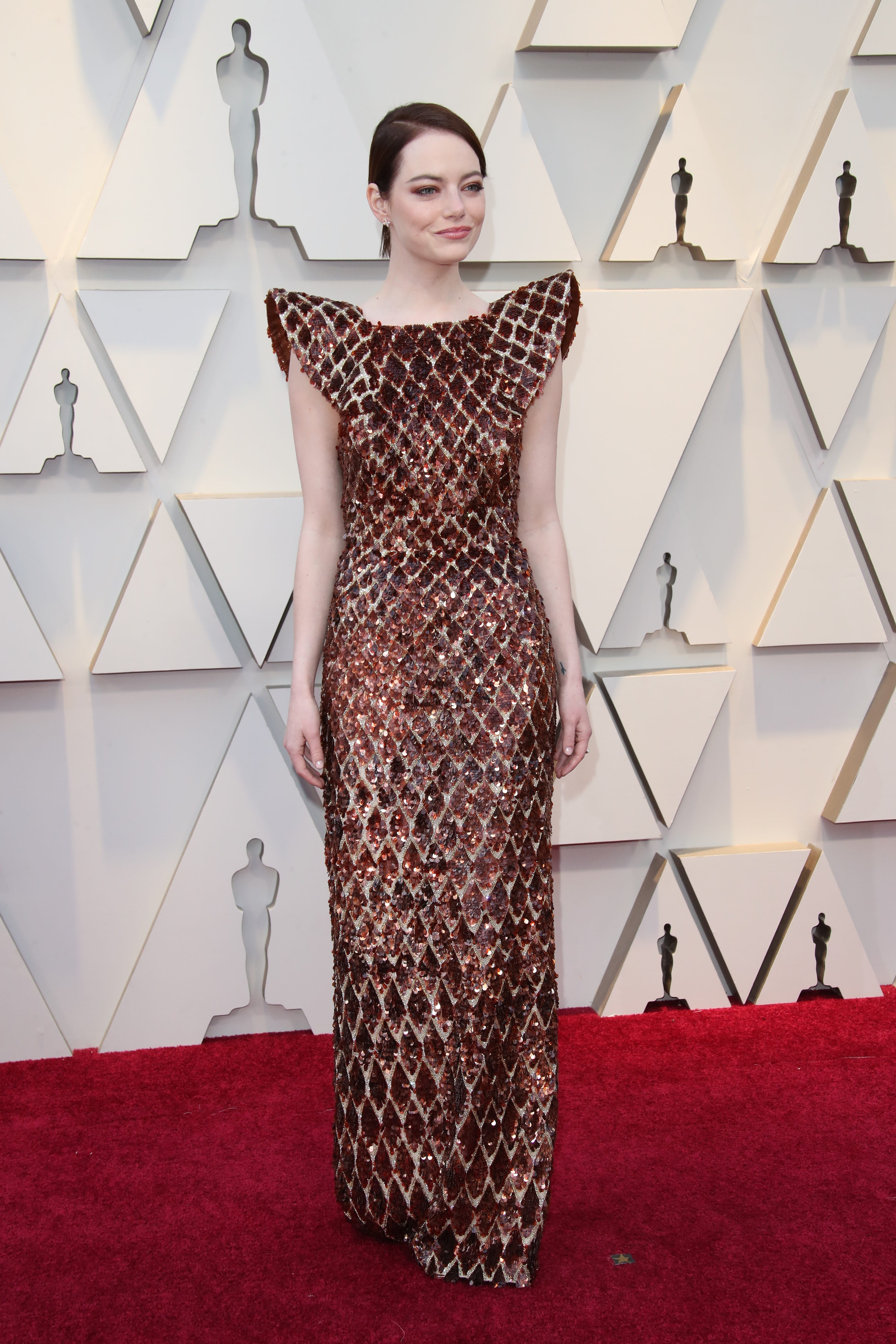 February 24, 2019; Los Angeles, CA, USA; Emma Stone arrives at the 91st Academy Awards at the Dolby Theatre. Mandatory Credit: Dan MacMedan-USA TODAY NETWORK (Via OlyDrop)