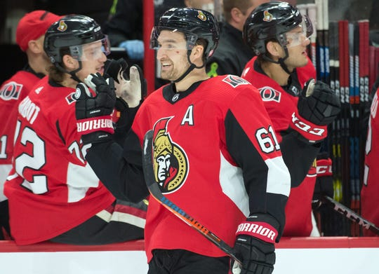 Mark Stone, the prize at the trade deadline, went to the Golden Knights.