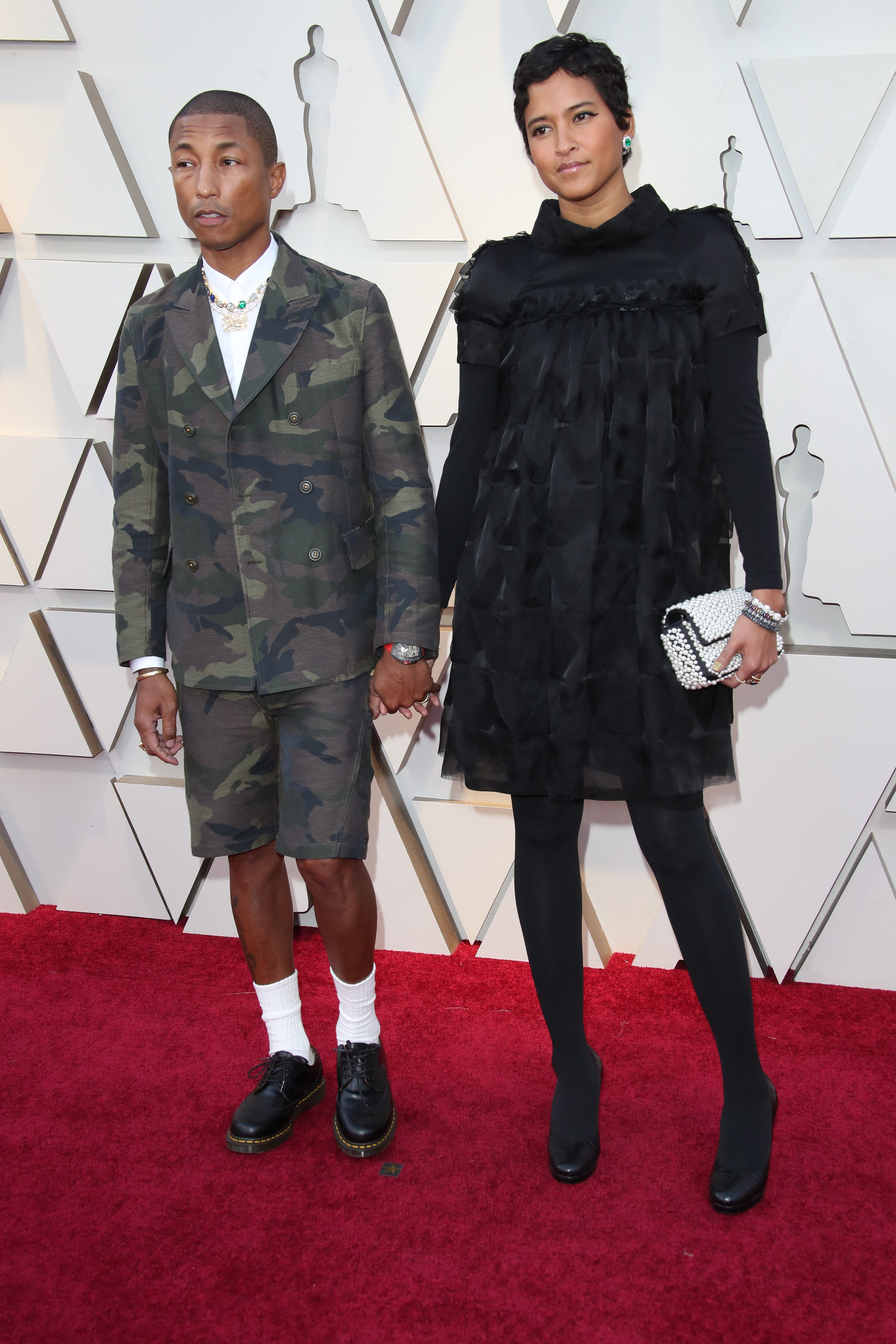 February 24, 2019; Los Angeles, CA, USA; Pharrell Williams, left, and Helen Lasichanh arrive at the 91st Academy Awards at the Dolby Theatre. Mandatory Credit: Dan MacMedan-USA TODAY NETWORK (Via OlyDrop)