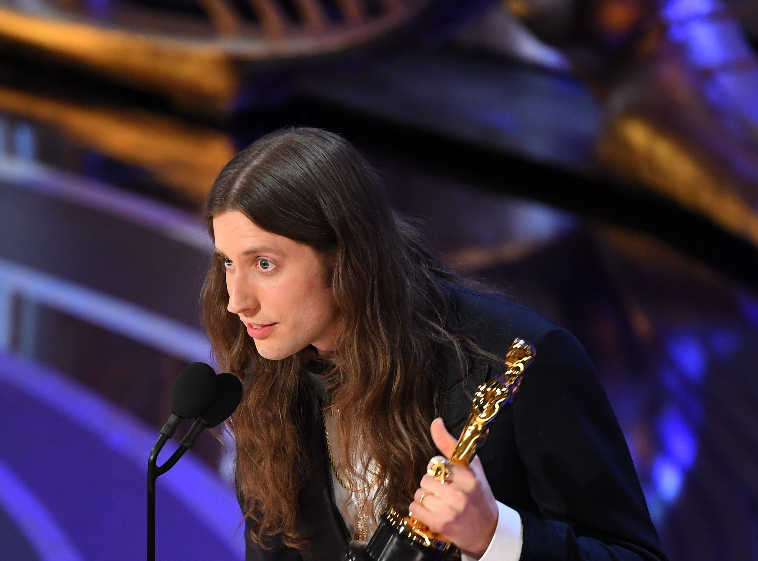 "Ludwig Goransson accepts the award for achievement in music written for motion pictures (Original score)for ""Black Panther."""