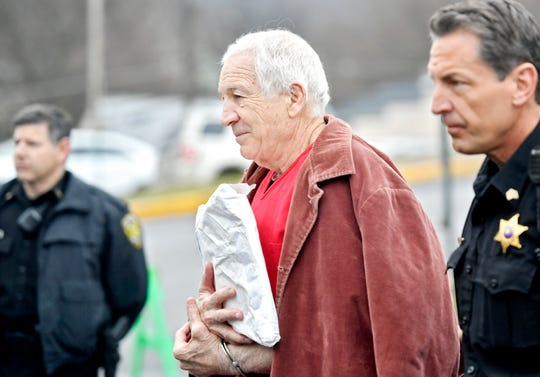Former Penn State assistant football coach Jerry Sandusky arrives at the Centre County Courthouse for a post-conviction appeals hearing on March 24, 2017.