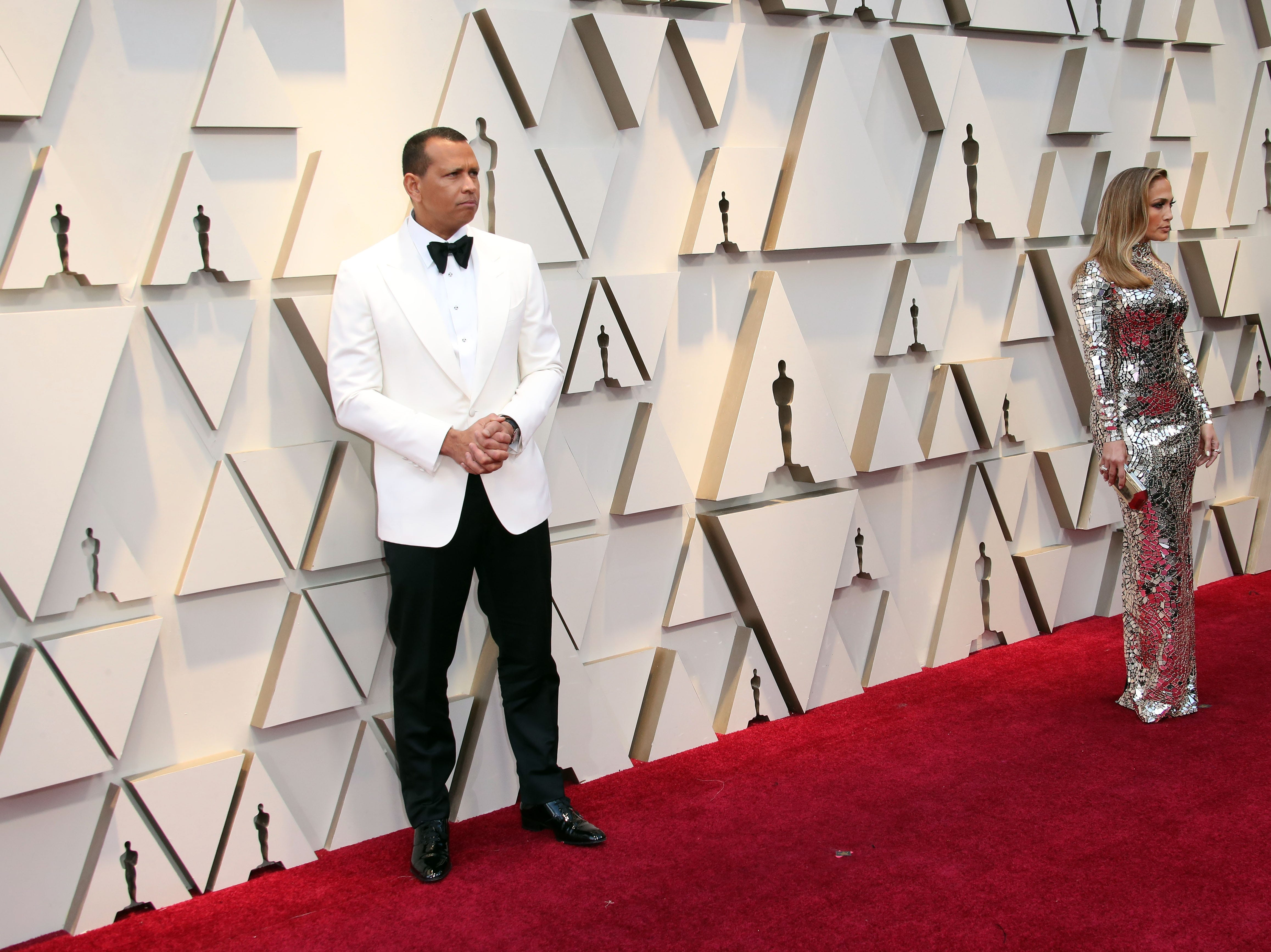 February 24, 2019; Los Angeles, CA, USA; Alex Rodriguez, left and Jennifer Lopez arrive at the 91st Academy Awards at the Dolby Theatre. Mandatory Credit: Dan MacMedan-USA TODAY NETWORK