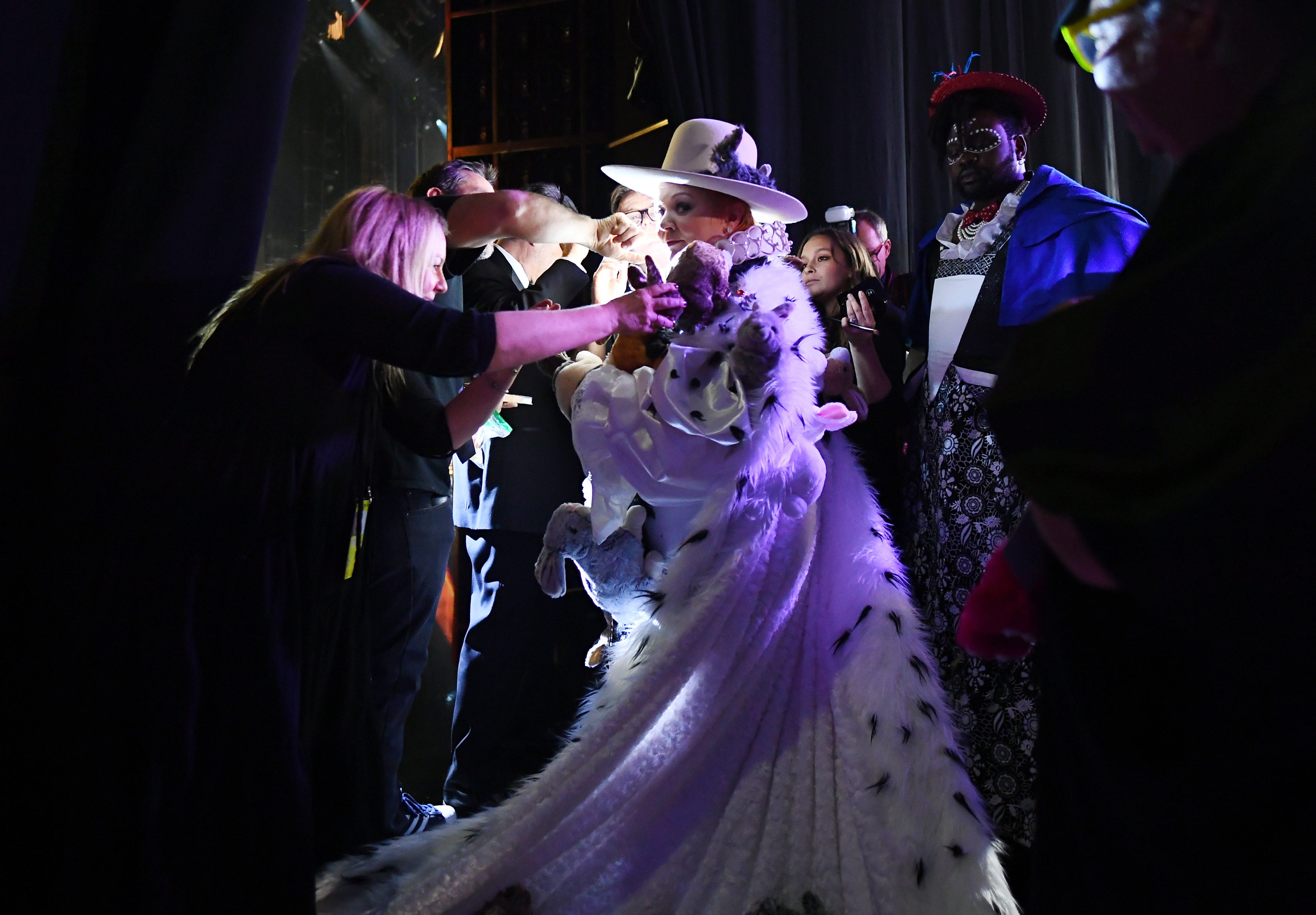 A regal Melissa McCarthy and Brian Tyree Henry prepare to present the costume design Oscar at the 91st Academy Awards.