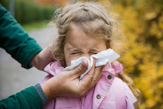Symptoms of flu include: stuffy nose, fever, cough, muscle or body aches, headaches and tiredness.