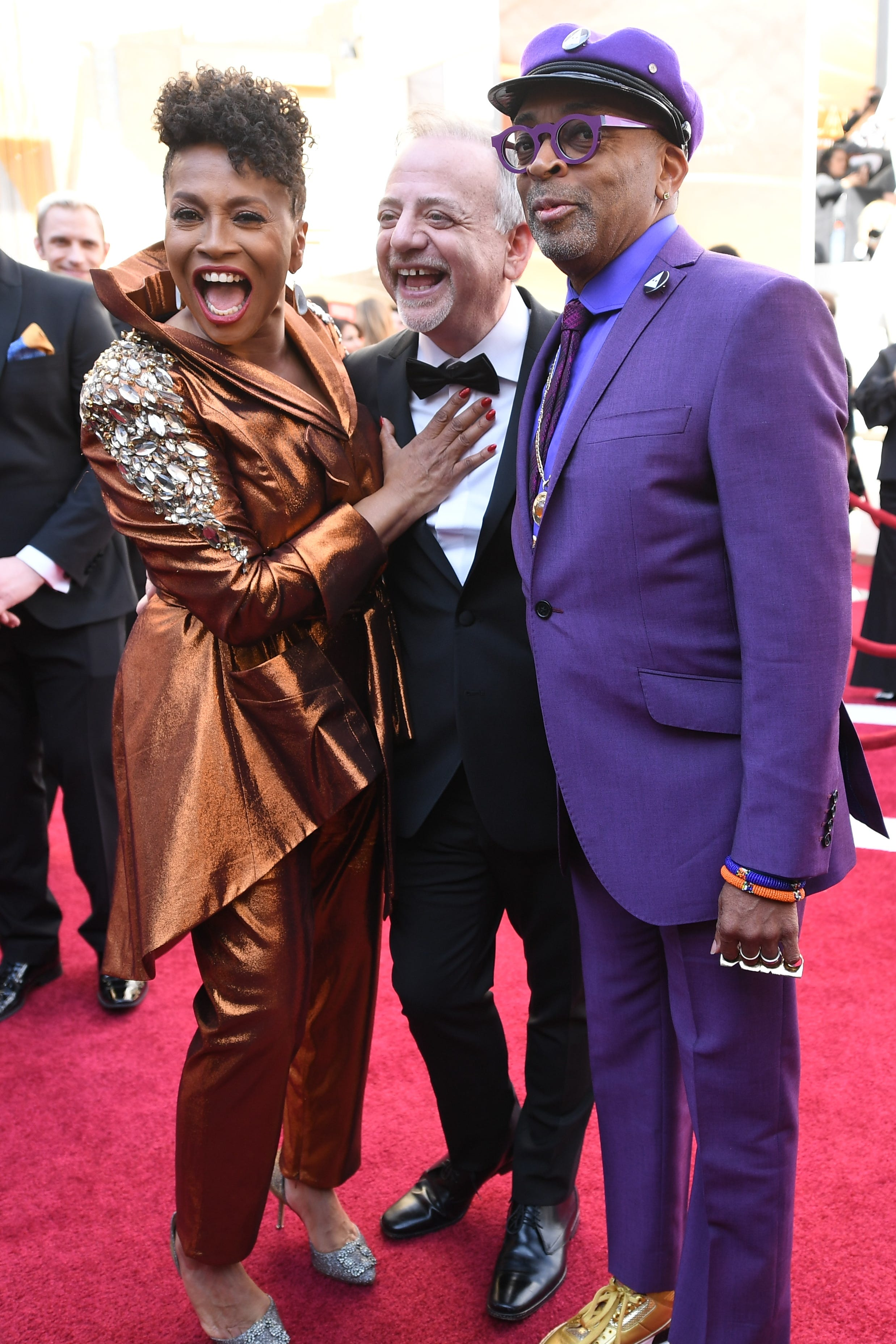 February 24, 2019; Los Angeles, CA, USA; (L-R) Jenifer Lewis, Marc Shaiman and Spike Lee arrive at the 91st Academy Awards at the Dolby Theatre. Mandatory Credit: Robert Hanashiro-USA TODAY NETWORK (Via OlyDrop)