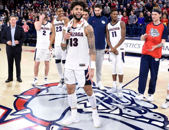 Gonzaga guard Josh Perkins talks to the crowd after the team's game against Brigham Young.