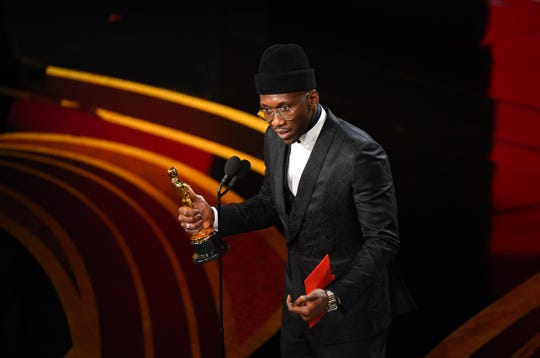 Mahershala Ali gives his acceptance speech after winning the Oscar for actor in a supporting role for 'Green Book' on Sunday.