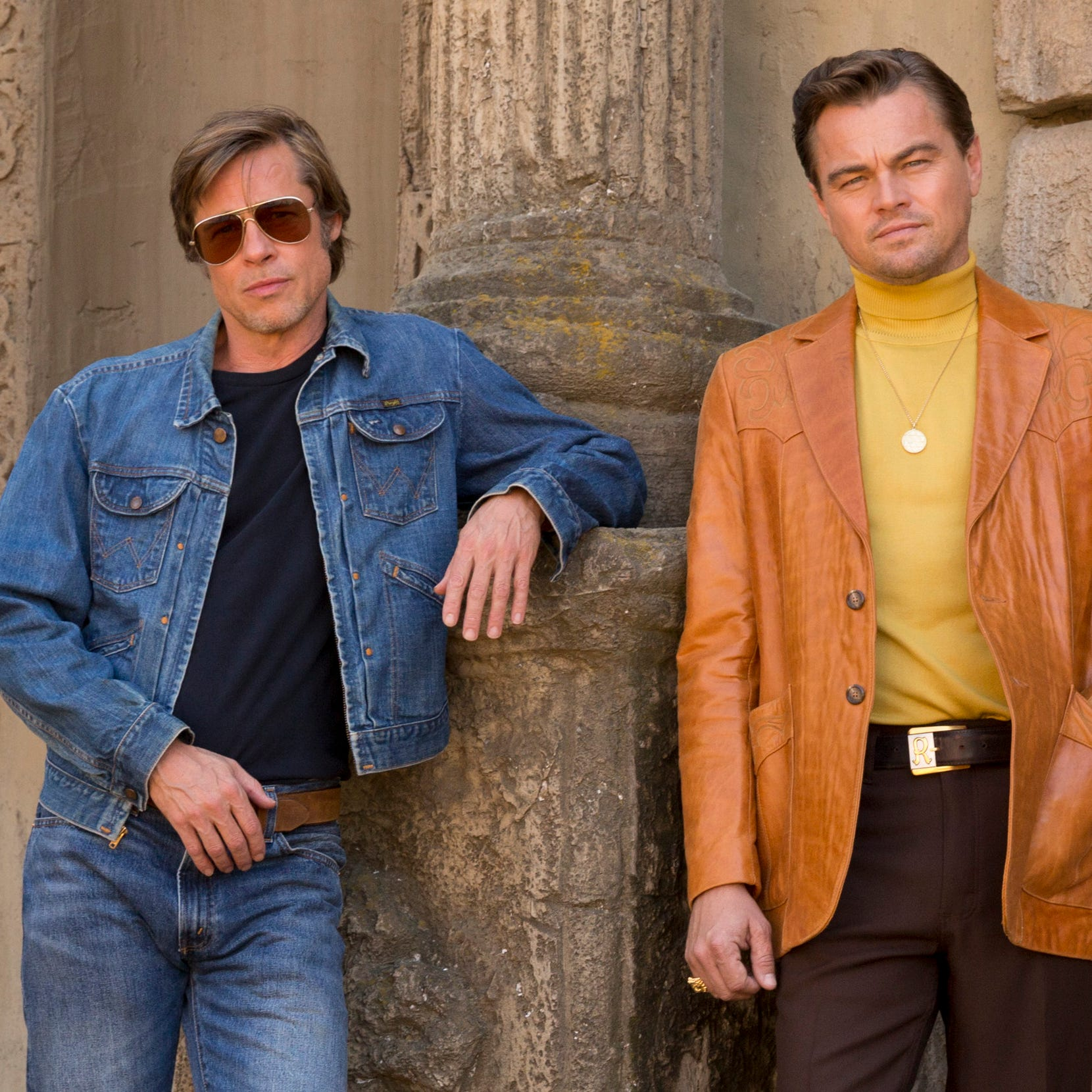 "Brad Pitt (left) and Leonardo DiCaprio star in ""Once Upon a Time in Hollywood."""