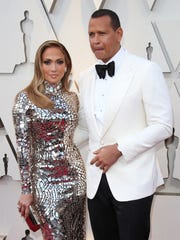 Alex Rodriguez and Jennifer Lopez arrive at the 91st Academy Awards.