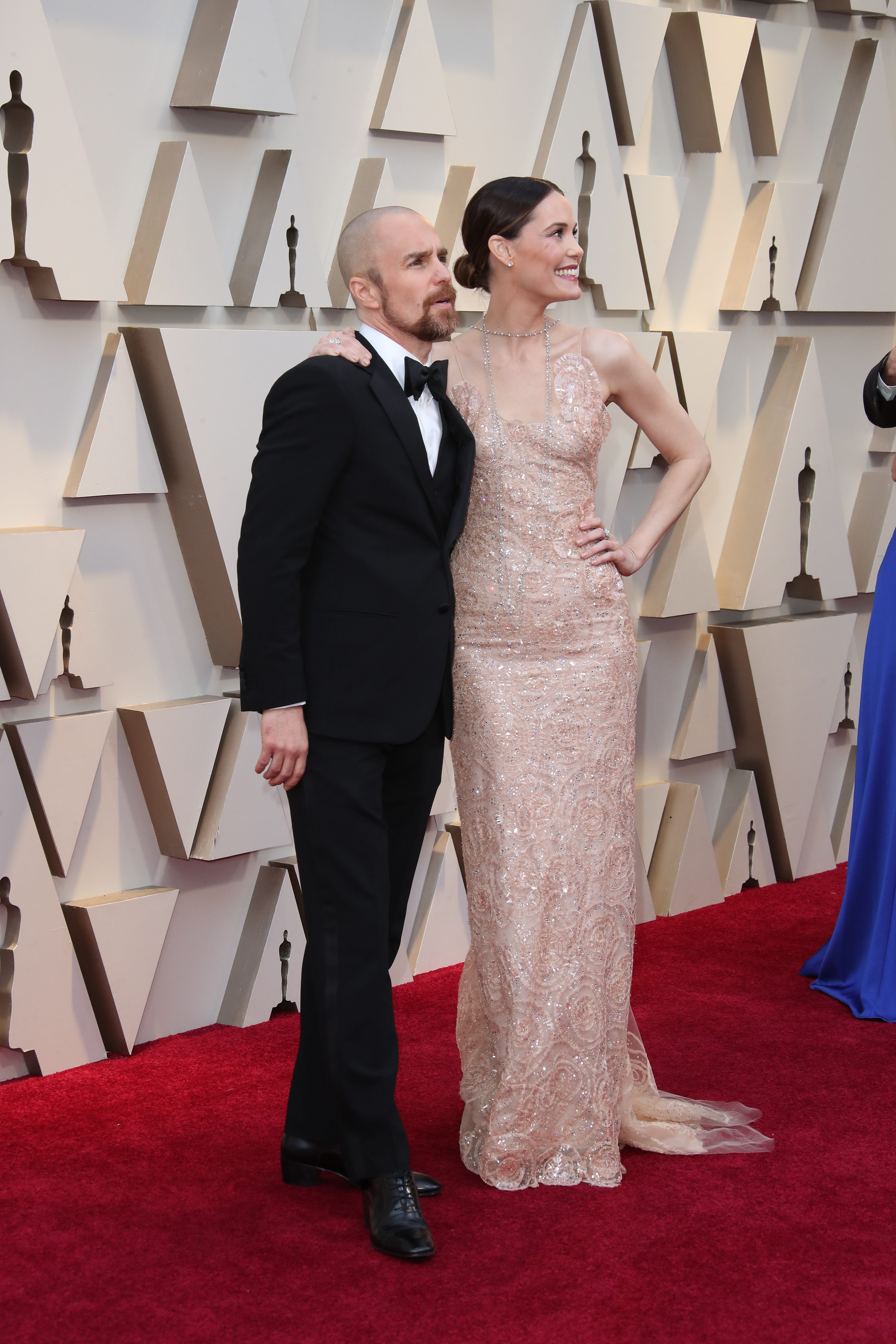 February 24, 2019; Los Angeles, CA, USA; Sam Rockwell, left and Leslie Bibb arrive at the 91st Academy Awards at the Dolby Theatre. Mandatory Credit: Dan MacMedan-USA TODAY NETWORK (Via OlyDrop)