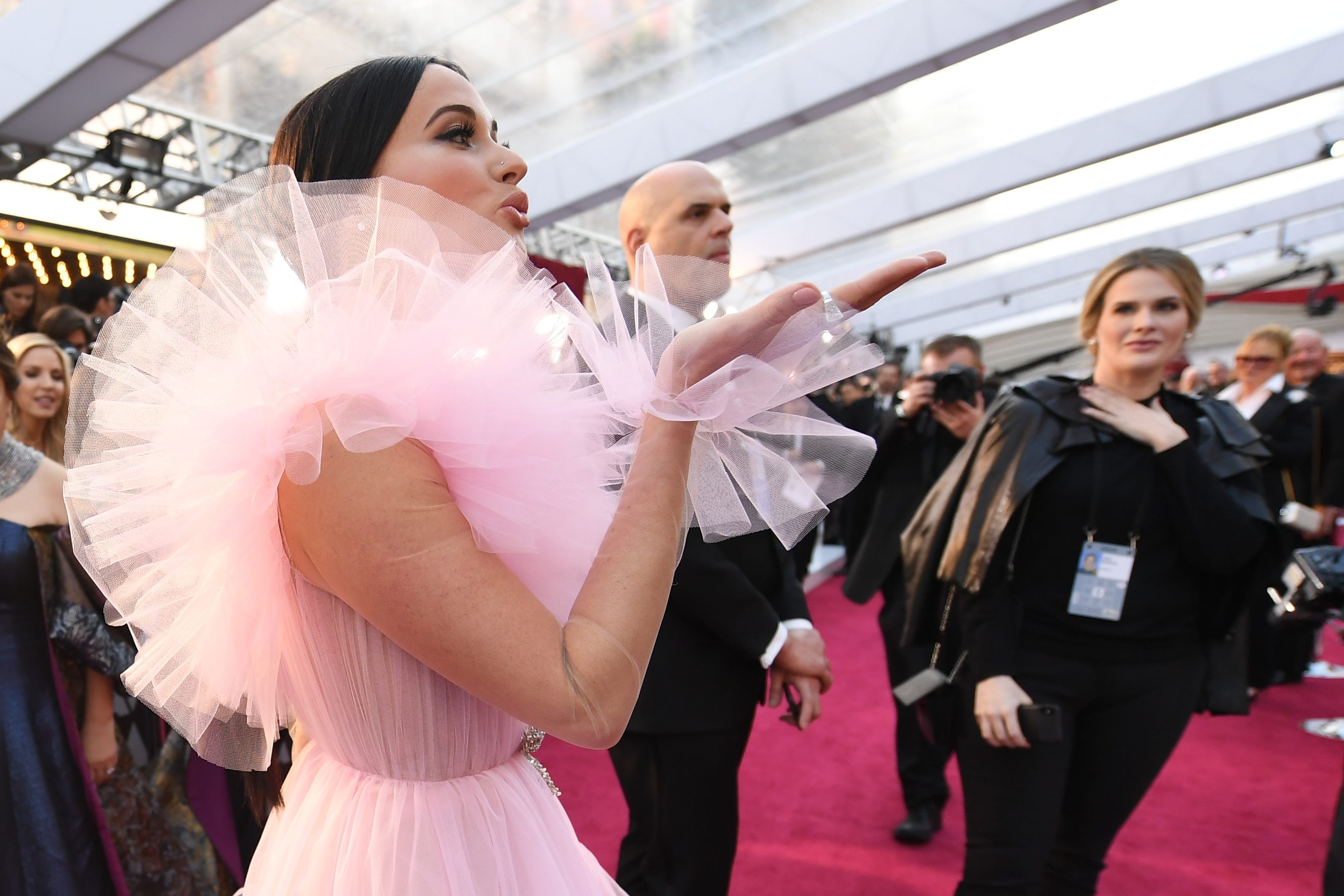 February 24, 2019; Los Angeles, CA, USA; Kacey Musgraves blows a kiss to fans as she arrives at the 91st Academy Awards at the Dolby Theatre. Mandatory Credit: Robert Hanashiro-USA TODAY NETWORK (Via OlyDrop)