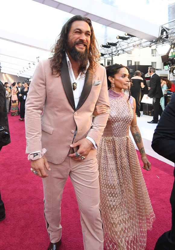 Jason Momoa and Lisa Bonet on the Oscars red carpet.