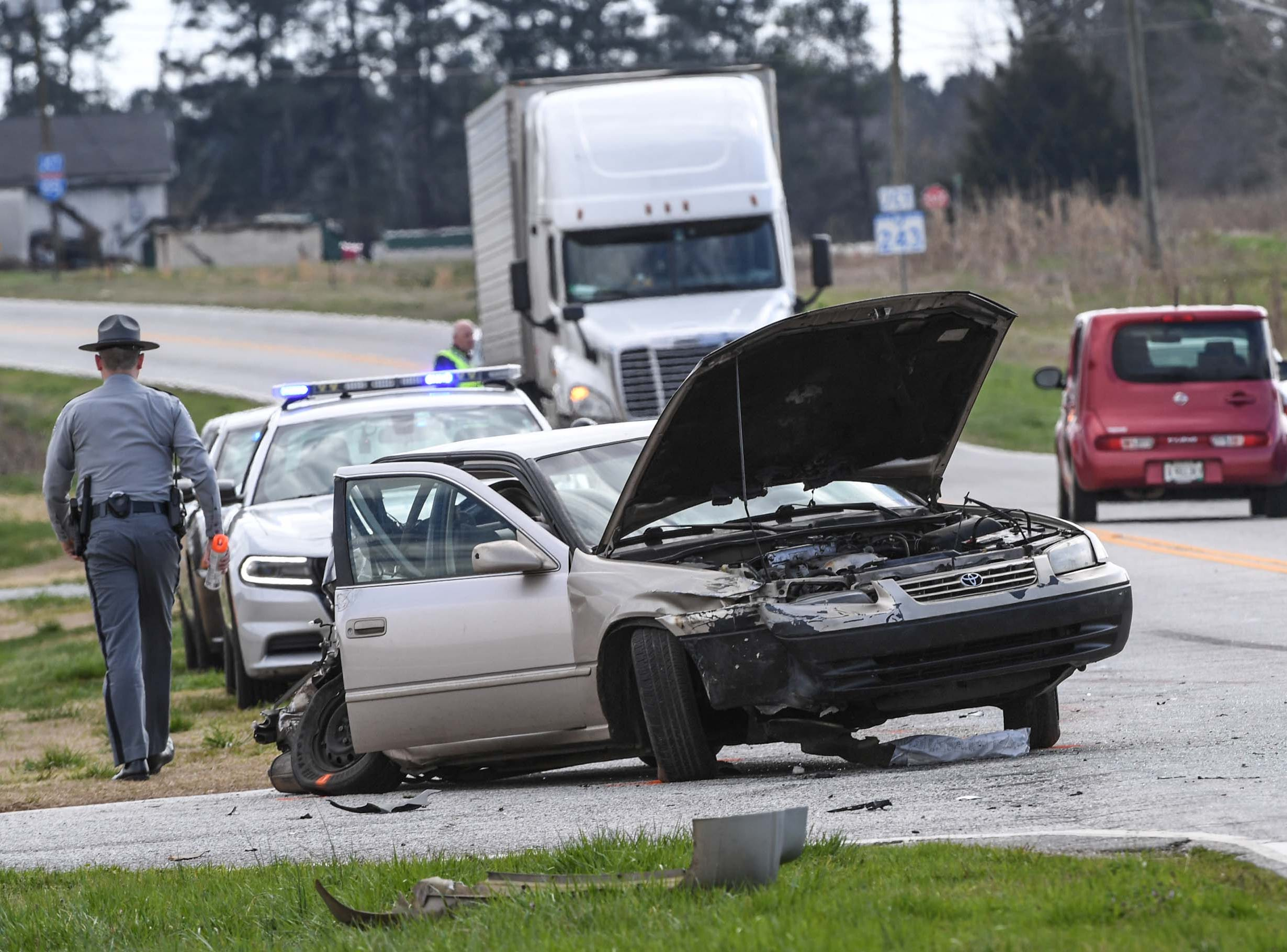 The scene of a three-car accident on state highway 24 just below Townville in front of Oakdale Baptist Church Tuesday.  The driver of the Camry was taken by ambulance to AnMed Hospital.